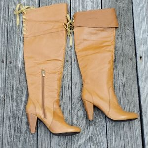 Two lips Boots Leather upper size 8 Caramel color